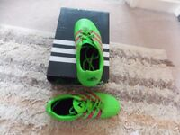 ADIDAS MOULDED STUD FOOTBALL BOOTS GREEN/PURPLE STIPES SIZE 4