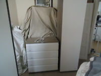 John Lewis Mix it Tall Single Wardrobe+Chest of Draws Gloss White/Grey Ash