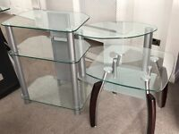 Set of Glass TV stand, Coffee Table, and 3 Tier Shelving Unit.