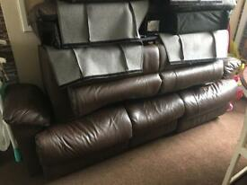 3 & 2 brown leather recliners
