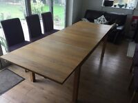 IKEA Extending Dining Table and Six Upholstered Chairs