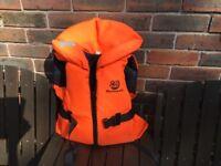 Marine pool child's life jacket, bright orange for visibility & crotch strap