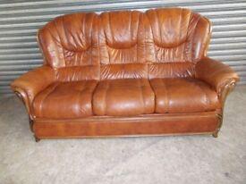 Italian Tan Leather 3-1-1 Suite (Sofa)