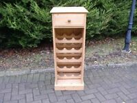 Solid Pine 15 Bottle Wine Rack With Top Drawer