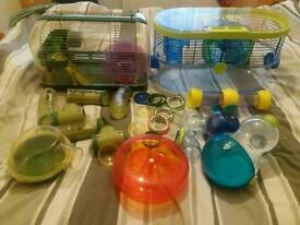 Large bundle of habitrail hamster cages. Lots of accessories. Can be made into one large cage .
