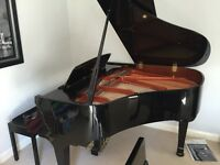 Bentley 148cm grand piano with stool. High sheen black. One owner bought 2005. Regularly tuned.
