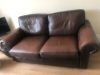 Leather two seater sofa & chair