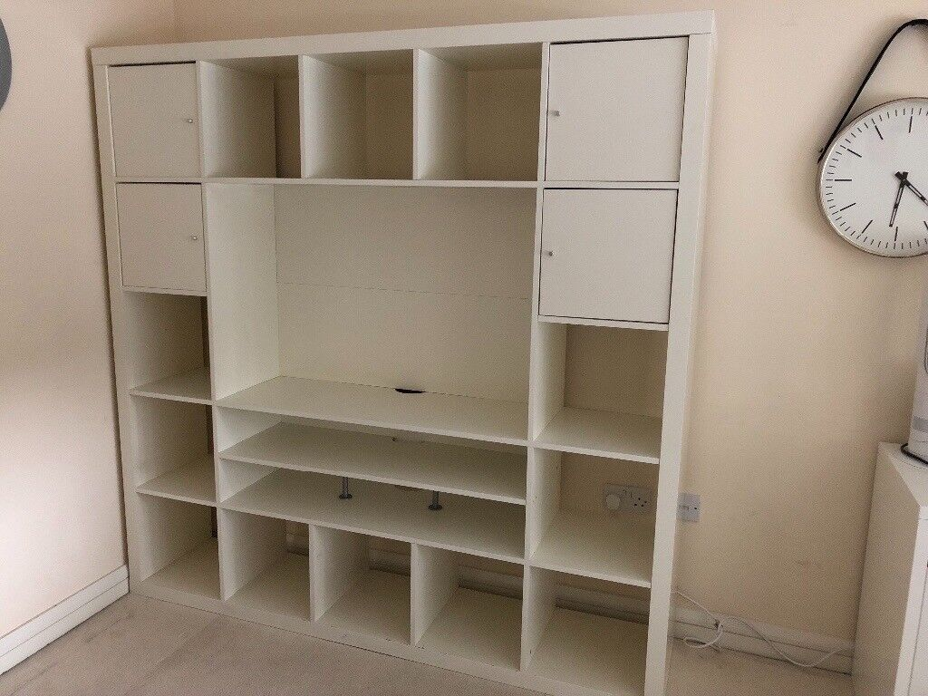 ikea expedit white shelving unit with tv storage in stoke on trent staffordshire gumtree. Black Bedroom Furniture Sets. Home Design Ideas