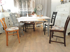 Industrial style shabby chic dining table with 6 chairs - Christmas SALE