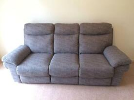 3 seat manual recliner woven fabric sofa, neutral brown grey, very lightly used