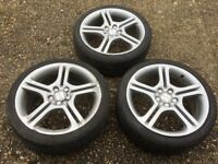 Reduced to £25, 3 Alloy Wheels, one with Tyre & 4 wheel nut covers for Seat Ibiza Fr TDI 205/40 R17