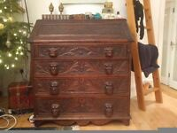 Vintage, carved wooden writing chest