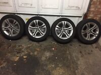 4x Hancock winter tyres 205/55R16 94v with alloy wheels