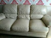 Free 3 seater sofa and 1 chair cream leather