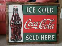 Hand Painted Coca Cola Wall Sign on Planks of Wood, Coke Advert Vintage Style Pop Art Piece