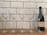 5x high-quality crystal wine glasses