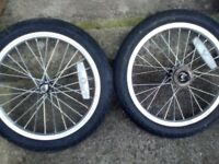 "Pairs of 16"" child bike complete wheels with tubes and tyres only £8"