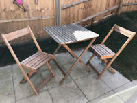 OUTDOOR WOOD TABLE & 2 CHAIRS (FSC certified wood)