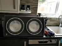 A129 fli twin active car subwofer sub with build in amplifier and all wires 1300w