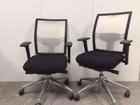 6 - KOMAC MOVE WHITE MESH OPERATOR CHAIRS / ADJ ARMS / FULLY LOADED - EXCELLENT COND