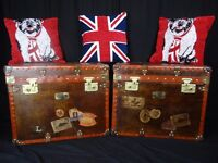 Pair Handmade English Leather Travel Luggage Trunks Brass Fixtures Coffee Tables