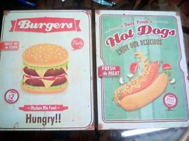 2 wooden wall signs burger and hot dog
