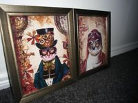 2 NEW STEAMPUNK 12 inch by 10 inch BRONZE/GOLD GLASS FRAMED THE OWL AND THE PUSSY CAT PRINTS