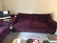 Purple cord corner sofa. Has Bluetooth and docking station built in , excellent condition