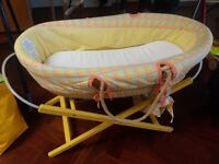 Mamas and papas moses basket with stand and mattress