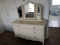 John Lewis Deauville bedroom furniture. Three chests of drawers one with a vanity unit/mirror