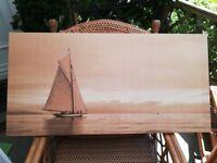 "Serene Yacht Scene Picture 39"" x 19¾ "" (100x50cm)"