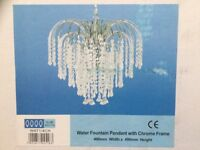 Ceiling Light. Chrome and Crystal. Brand New in Box