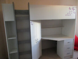 KIDS HIGH SLEEPER BED WITH DESK AND WARDROBE