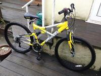 CHEAP mountain bike, bright yellow. Come an try it!
