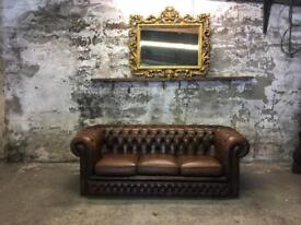 Vintage Leather Three Seater Chesterfield