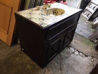 Hand painted Tiled Sink with cupboard underneath (Very pretty)