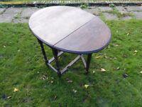 Oval Oak Gate Legged Table HT 72cm Diameter open 106cm