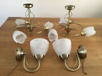 BARGAIN - only £15 Set of 2 Ceiling & 2 matching Wall lights, perfect working order