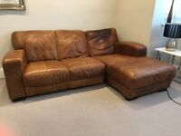 Brown leather sofa RH facing with chaise/corner configuration SO COMFY! TW11 Collection