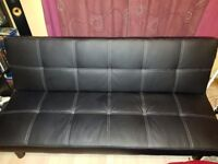 Black sofa bed, faux leather upholstery, excellent condition