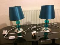 Pair of teal coloured table lamps