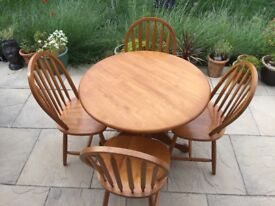 Pine dining table and chairs35.00