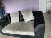 Velvet sofa & cuddle chair black & silver