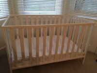 Beautiful white wooden baby cot