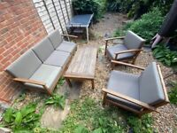 Set of Teak Garden Furnitures - Sofa, chairs and coffee table