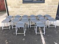 14 Stackable Metal Chairs/Stools with Plastic Tops