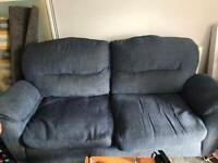 Blue 3 seater and armchair