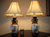 PAIR OF LARGE VINTAGE CHINESE PORCELAIN TABLE LAMPS WITH VINTAGE SHADES
