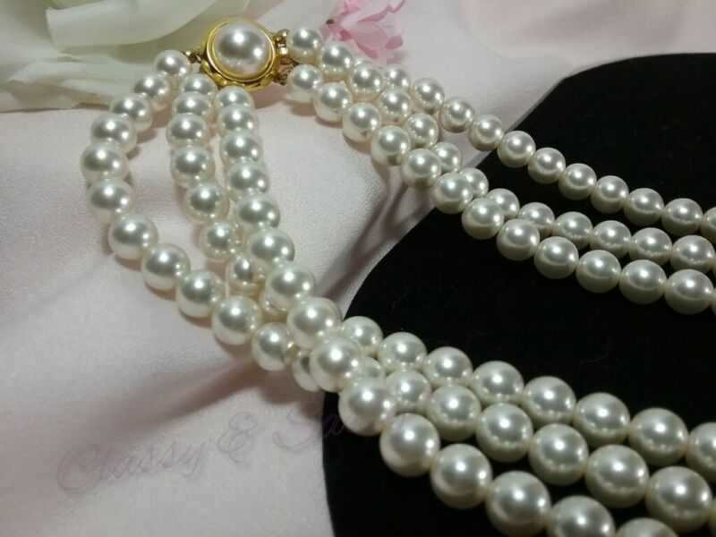 Vintage Gold White Pearl Beaded Three Stranded Pendant Bridal Collar Necklace