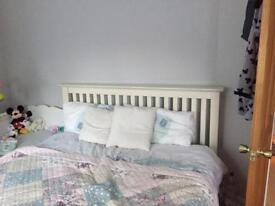 White solid wood double bed +free wardrobe offer